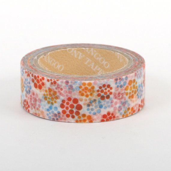 Washi tape / masking tape 10m  Multicolor polka dot / by Vespapel, $2.30
