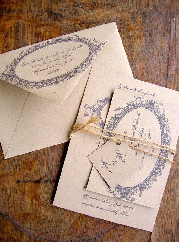 Eco Friendly Wedding Invitation, Fanciful Wedding Invitation, Recycled, Eco Friendly. $3.75, via Etsy.