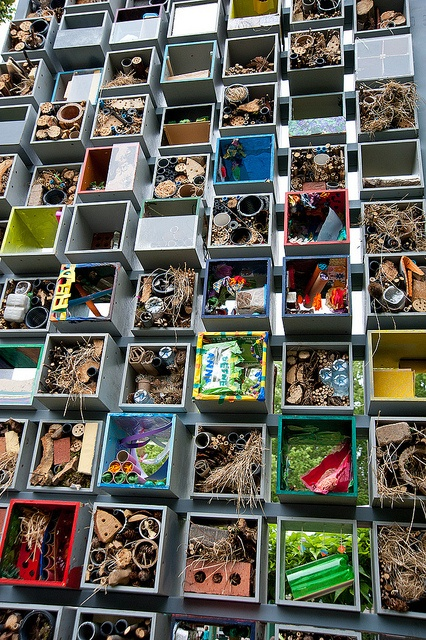 A close up of the insect hotel made by children for the B garden. RHS Chelsea Flower Show 2011 by pixelhut, via Flickr