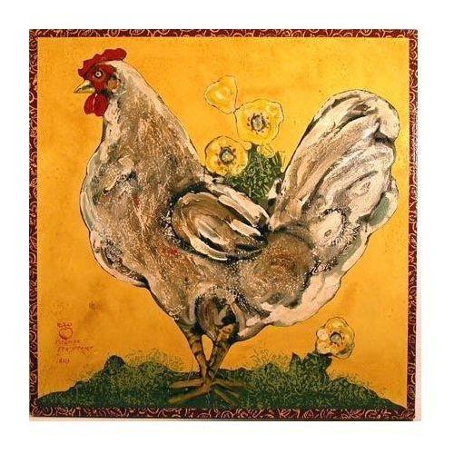 Foulard Carré De Soie - Coq Rouge Par Vida Vida 3uE05oEH9b