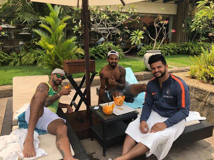 Shikhar Dhawan KL Rahul and Suresh Raina chill after India's win over Bangladesh - facebook.com/MyCricketTrolls