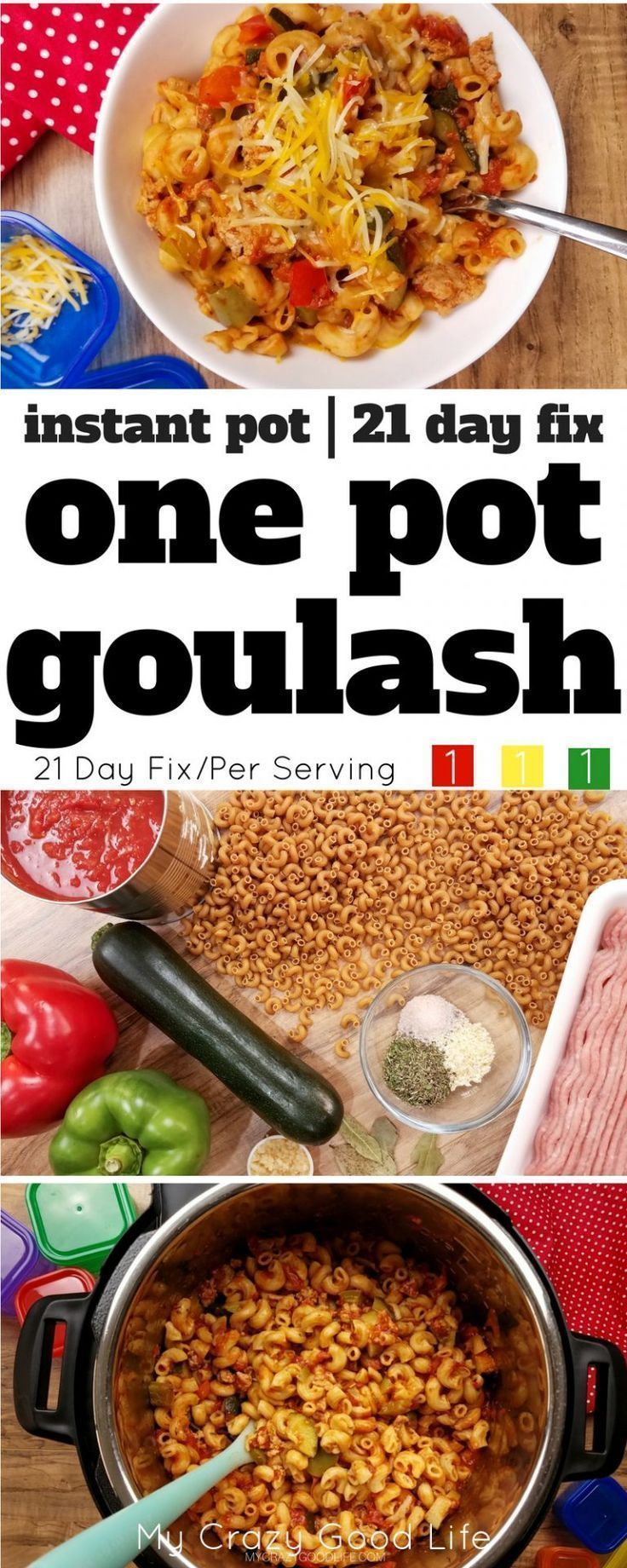 This healthier version of goulash is a family favorite–we make it about once a week! With whole wheat noodles and extra veggies, it's 21 Day Fix friendly, too! Instant Pot Goulash | One Pot Goulash | Instant Pot Dinner
