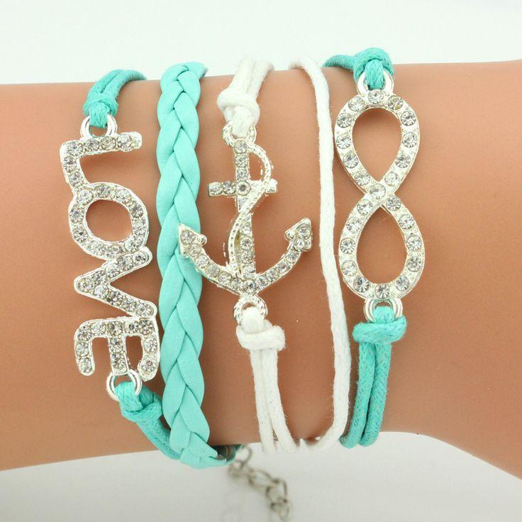 New Arrival Elegant Women Friendship Bracelets Full Stone Wings Cross Infinity Wholesale Price