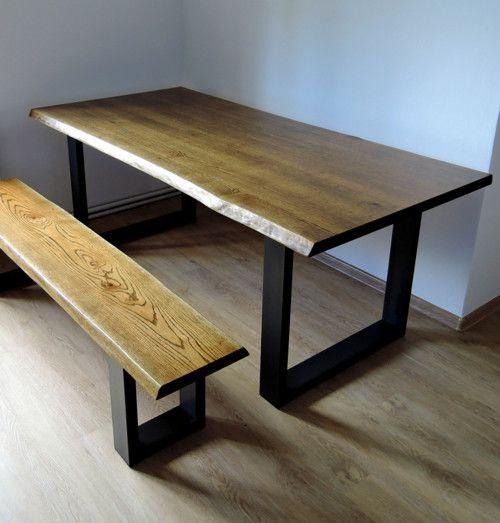 Masivní stůl z dubu s kovovou podnoží