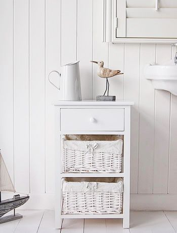 New Haven White Bathroom Cabinet Freestanding For Storage