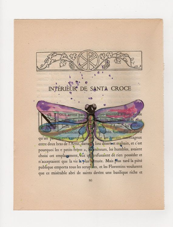 Book Cover Watercolor Painting : Purple dragonfly original watercolor painting on old