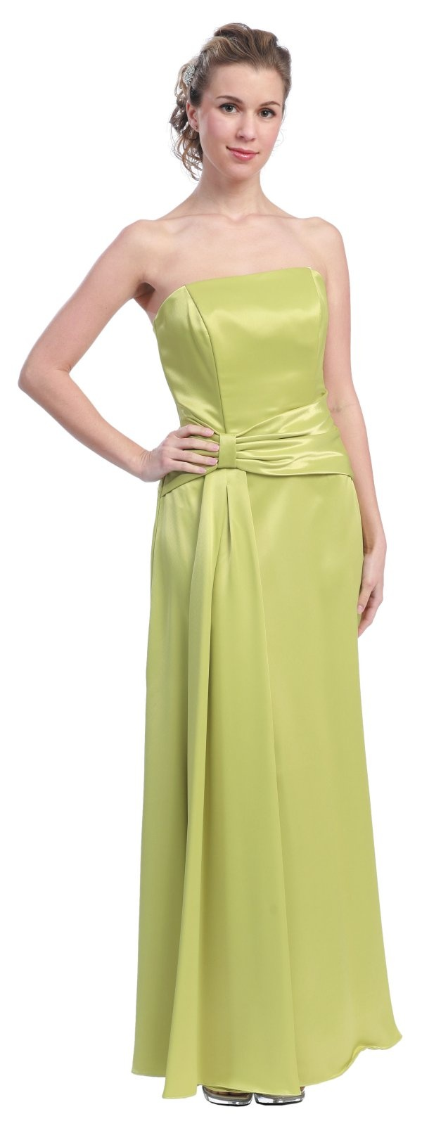 Light Green Formal Dress Cheap Strapless Green Prom Bridesmaid Gown $92.99