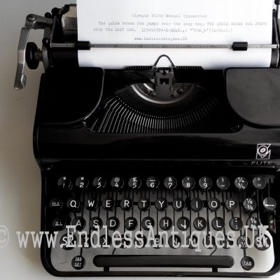 1940's Olympia Elite manual typewriter. I like the classic black glossy paint. It is also surprising how the original decals have been well preserved for 70+ years. For sale at www.endlessantiques.UK! #endlessantiques #typewriter #black #blacktypewriter #typewriters #retro #vintagesale #vintagetypwriter #vintagedecor #german #olympia #london #uk #collectable #antique