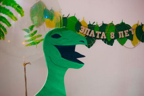 Фигурная бумажная гирлянда. Вечеринка в стиле динозавров. Гирлянда из листьев. Больше фото: http://www.tolstiyangel.ru/detskie-prazdniki    |  Green yellow dino party paper garland  |