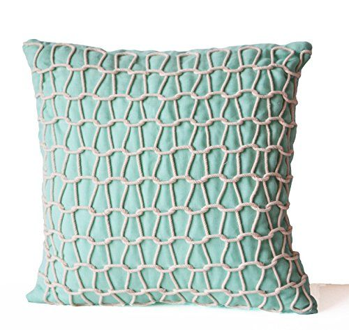 "Teal Decorative Pillow Cover -Handcrafted Linen Pillow Case -Light Teal White Cord Pillow -Dori Accent Pillow-Modern Home Decor-Couch Pillow Cover (24"" x 24"") Amore Beaute http://www.amazon.com/dp/B00VM5EW7O/ref=cm_sw_r_pi_dp_dWbivb060T8EE"