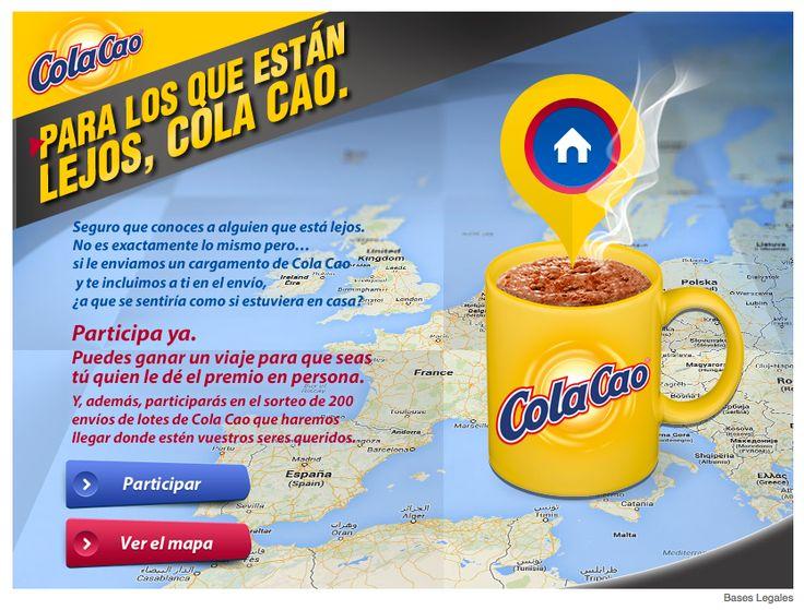 Campanya de Cola Cao per seguidors de Facebook. Sorteig de lots de productes a canvi de participar i guanyar seguidors. Per ara en porten més de 100.000.