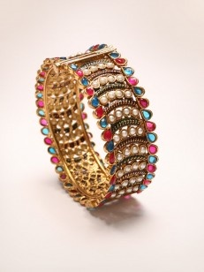 Buy Blue ,Pink and Pearl Golden Kada online.