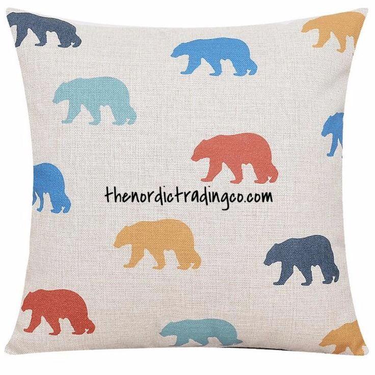 "Bears Nordic Scandinavian Throw Pillow Cushion Cover 17""x17"" Decorative Accent Home Nursery Bedroom Decor"