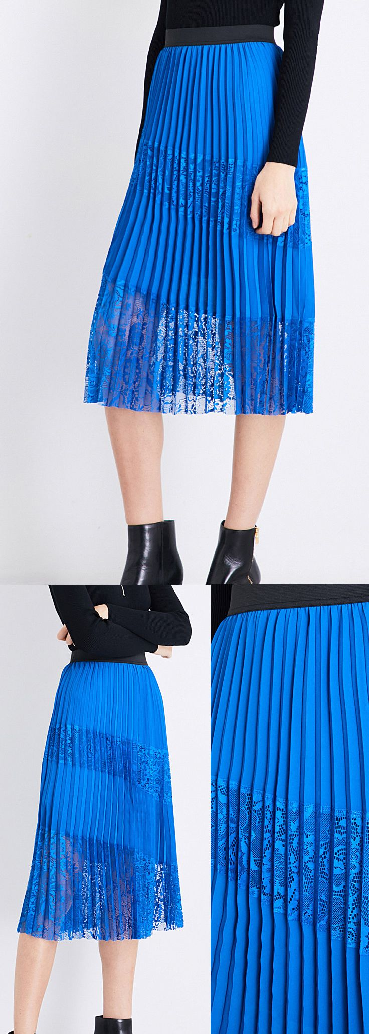 Maje Jarane high-rise pleated skirt. Maje pleated skirt. It's Royal Blue, it's Midi Skirt Length, it's pleated and it's Laced. What more can you ask for. High-rise, elasticated waistband, all-over pleats, asymmetric lace panels. Winter Wedding Guest Outfit ideas. Autumn Winter 2017 Pleats Trend. #pleats #midiskirt #fashion #fashionista #fashionaddict #affiliatelink #giftsforher #weddings