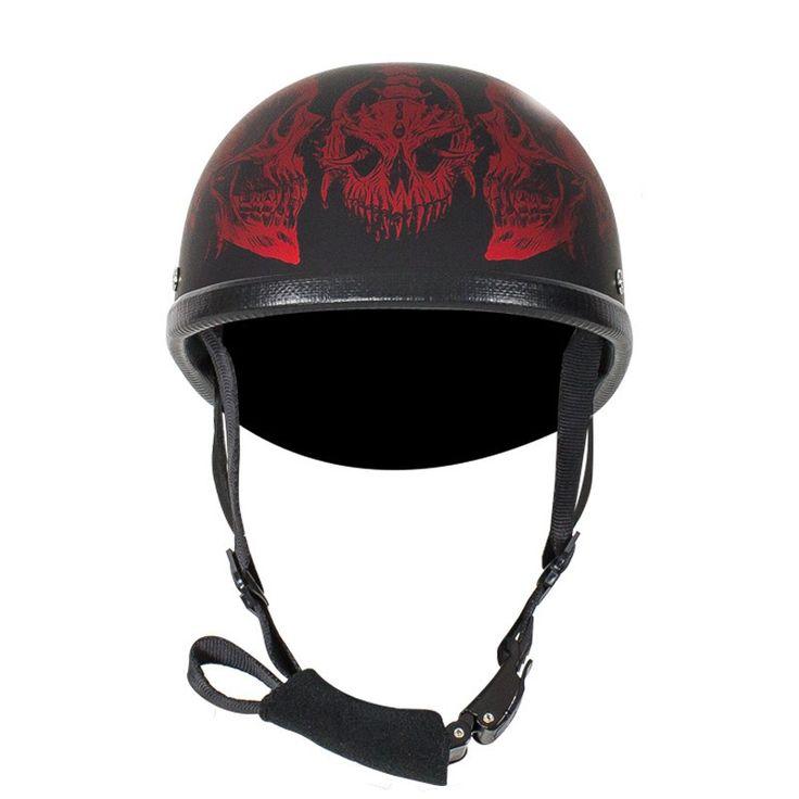 Matte Burgundy Novelty Motorcycle Helmet with Horned Skeletons