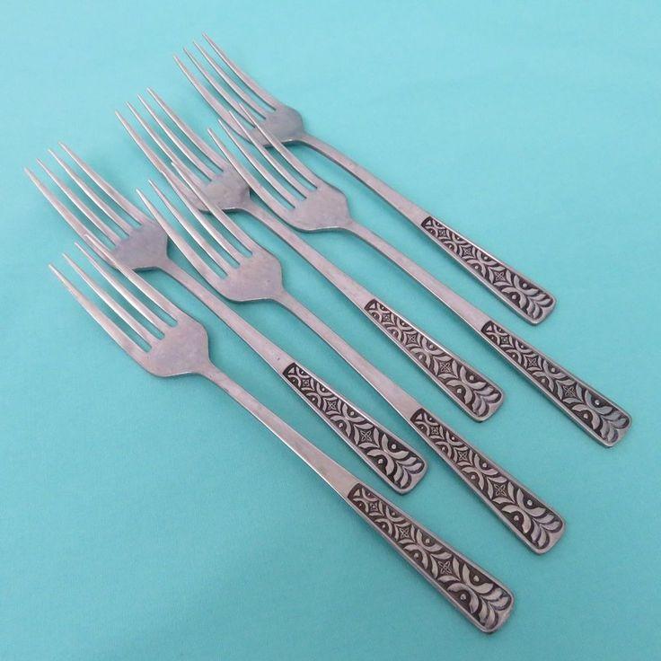 Alhambra 6 Dinner Forks Stainless Modern Geometric Tribal Tiki  #MerchandiseServiceMSI
