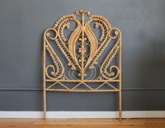 Boho Rattan Wicker Twin Headboard by GallivantingGirls on Etsy