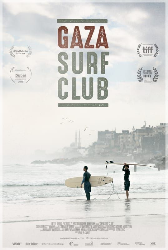 Release poster for Gaza Surf Club, a documentary about surfing in the troubled district
