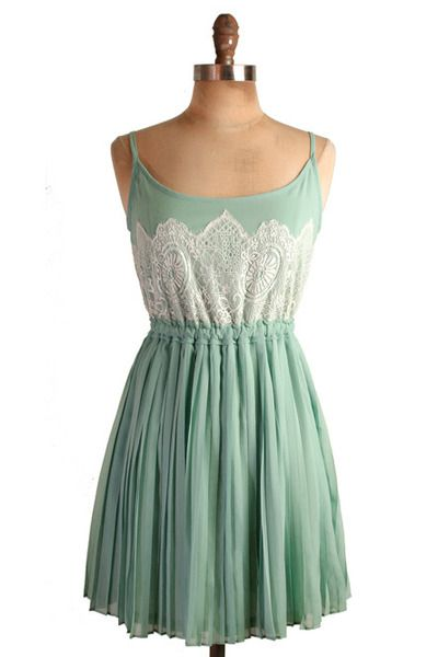 mintSummer Dresses, Mint Green, Pleated Dresses, Green Dress, White Lace, Mint Dresses, Chiffon Dresses, Lace Dresses, Lace Bridesmaid Dresses