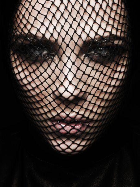 Fishnets over face ~ great Halloween idea