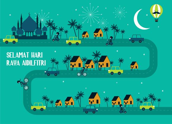 hari raya/ balik kampung greetings by lyeyee on Creative Market
