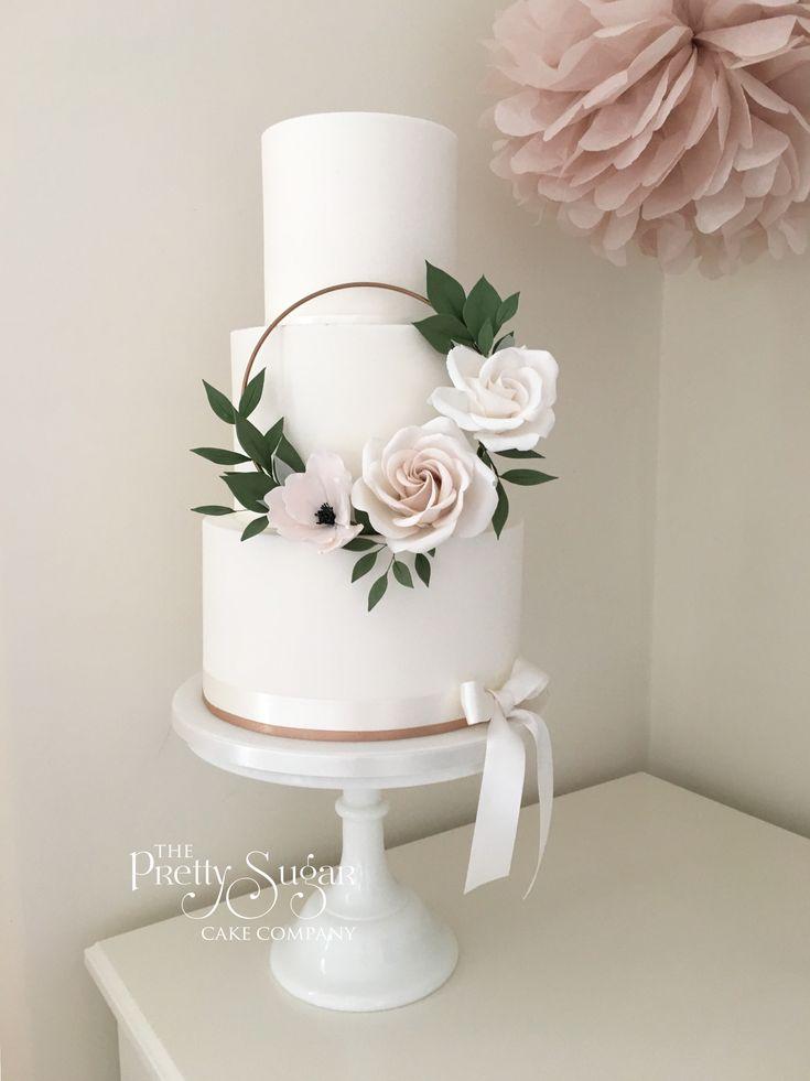 Copper, blush sugar floral hoop wedding cake