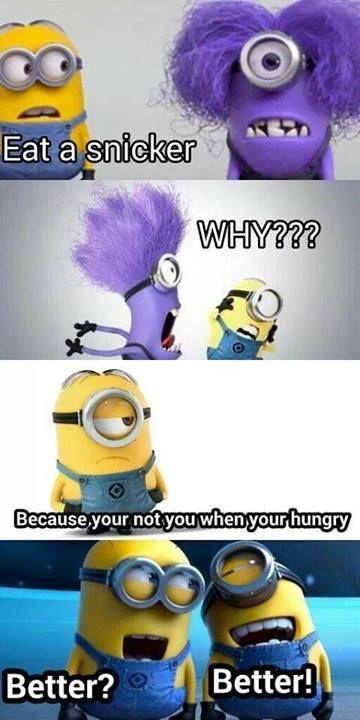 Purple Minion eats a snickers