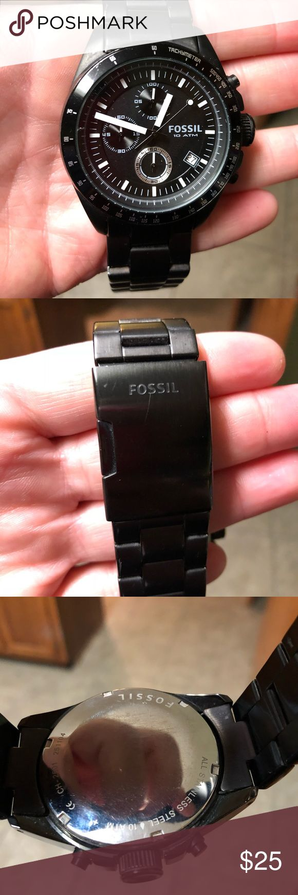 Fossil men's watch Very nice Fossil watch, measures 1.5 in across the face. Not sure how to do measurements in watch speak so I just measured that way, and compared to a Carmex tin in a photo 😬🤭🤓🤷🏻‍♀️.  It does need a new battery, so I am compensating for that with my asking price. offers accepted! Fossil Accessories Watches