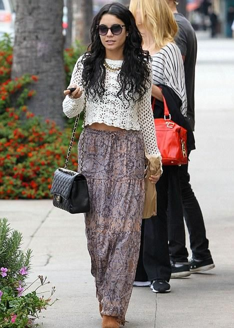 Vanessa Hudgens Boho Causal Outfit Celebrity Everyday Fashion Pinterest Bohemian Style