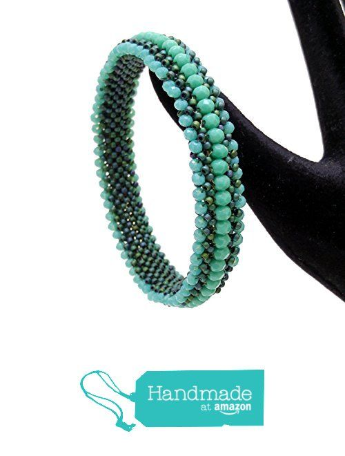 Beaded Bracet, Cubic RAW squares, Green Seed Bead Cuff Bracelet, Right Angle Bangle, BR1035 from Nazo Design https://www.amazon.com/dp/B019M2GXKM/ref=hnd_sw_r_pi_dp_6vOMxb5PRH0VN #handmadeatamazon