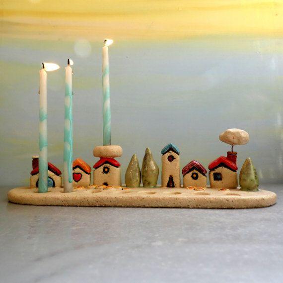Jewish Menorah , Houses Hanukkah Menorah , Hanukkah gift , Jewish wedding , Houses of Israel menorah , Jewish gift , Jewish art , Israel