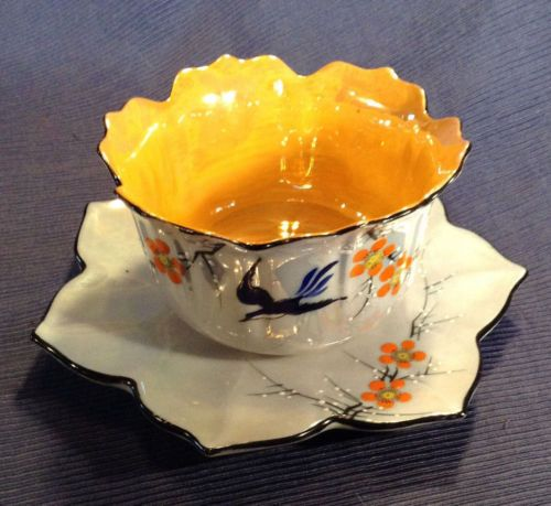 Flower-Shaped-Sauce-Or-Gravy-Bowl-Underplate-Hand-Painted-Japan