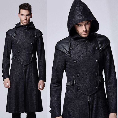Men Black Double Breasted Hooded Medieval Gothic Military