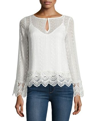 Long-Sleeve Lace Top, Natural by Ella Moss at Neiman Marcus.