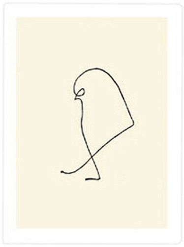 This is one of Pablo Picasso's one line drawings. Done in ink, Picasso creates a complete contour drawing of a small bird using just one line. I like the innovative and quirky nature of this collection.