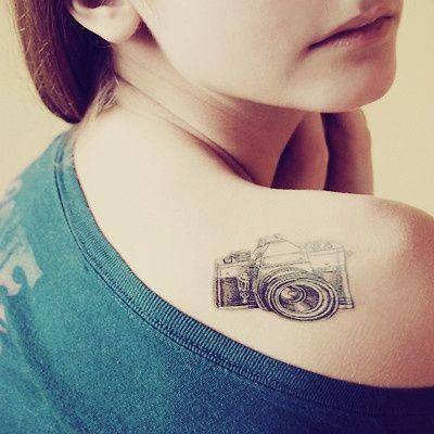 Small Camera Shoulder #Tattoo #GirlsTattoos #CuteTattoos #SmallTattoos #GirlyTattoos #TattoosForGirls #GirlTattoos
