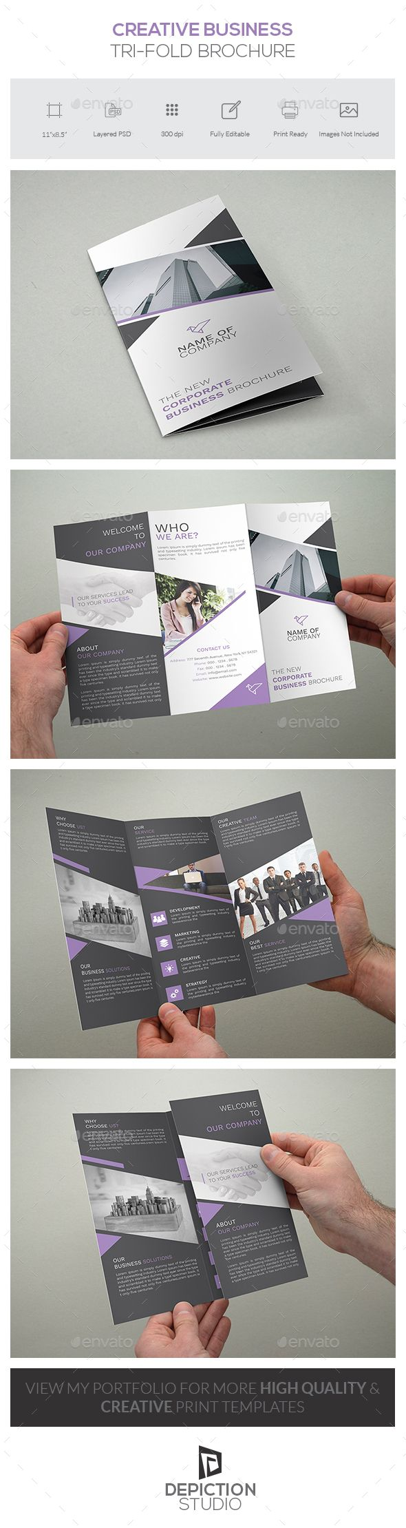 Creative Business Tri-fold Brochure Template PSD #design Download…