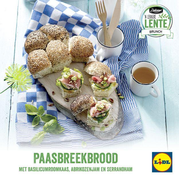 Paasbreekbrood met basilicumroomkaas, abrikozenjam en serranoham #Lente bij #Lidl #Brunch