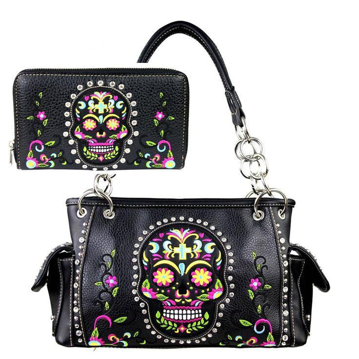 Montana West Sugar Skull Day Of The Dead Purse Shoulder Bag Wallet Set Concealed Weapon