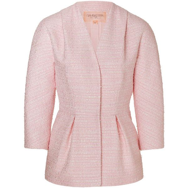 Giambattista Valli Bouclé Jacket (€465) ❤ liked on Polyvore featuring outerwear, jackets, blazers, blazers/jackets, rose, pink blazer jacket, tweed jacket, tailored blazer, tailored jacket and pink tweed blazer