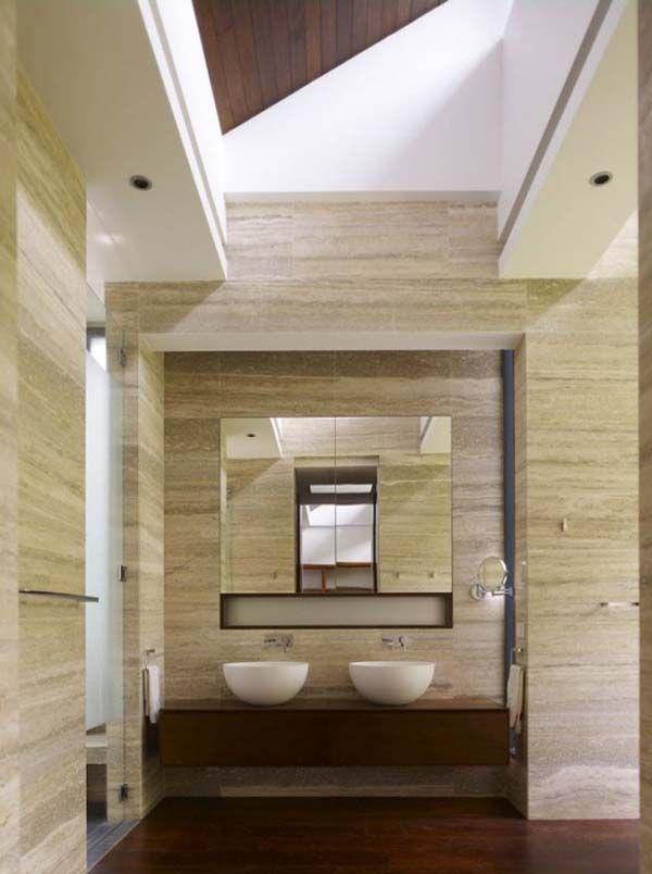 Seamless Contemporary Sandstone tiled bathroom