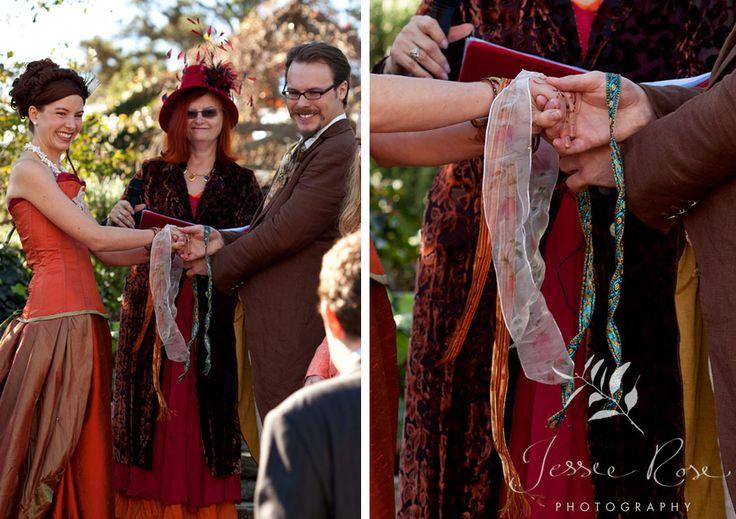 Dale & Christopher @ Jessie Rose Photography, autumn, wedding, bride, groom, love, diy, silk, orange, handfasting, ribbons