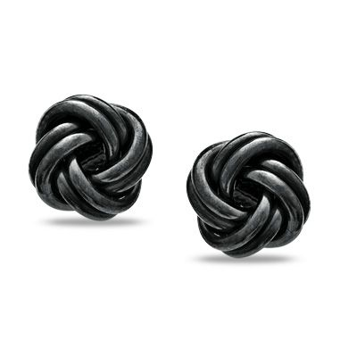 Love Knot Stud Earrings in Sterling Silver with Black Rhodium Plating