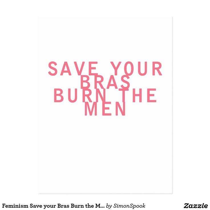 Feminismsparan dina behå bränner manar rolig vykort
