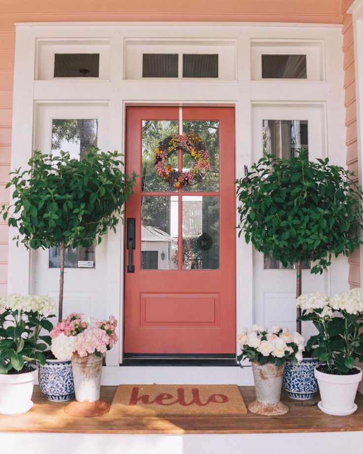 """21.1k Likes, 238 Comments - Julia Engel (Gal Meets Glam) (@juliahengel) on Instagram: """"Our front door is blooming #easterweekend #happyfriday #frontporch #flowers #athome…"""""""