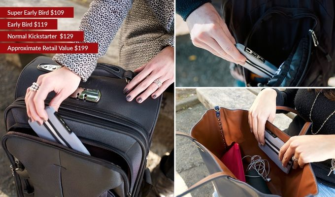 The Smartbag Kit with 2 USB chargers, lights, GPS tracking and Bluetooth turns ALL of your bags into a tech bag! Just slip it into any bag you're using and you're good to go. Pre-order on Kickstarter until December 9.