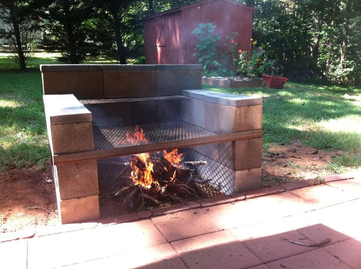 Build Your Own Backyard Cinder Block Grill: easy | Family ... on Building Outdoor Fireplace With Cinder Block id=49205