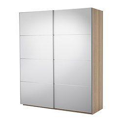 PAX Szafa z przesuwanymi drzwiami - ef dębu bejc bia, 200x66x236 cm - IKEA