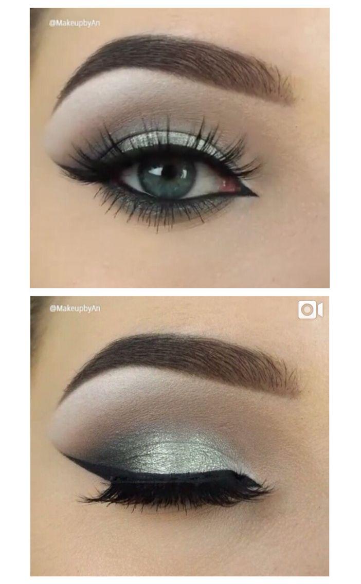 simple silver smokey eye