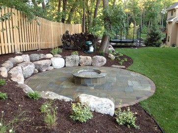 Backyard Fire Pit On Slope Bluestone Patio Shorewood